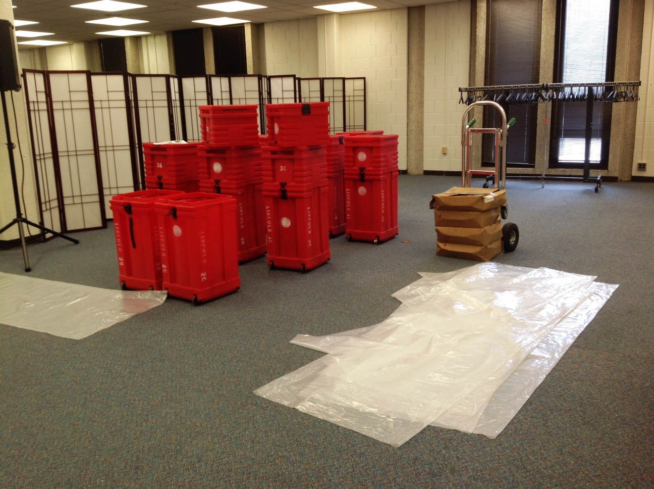 Staging area for exhibit, Library Events Area