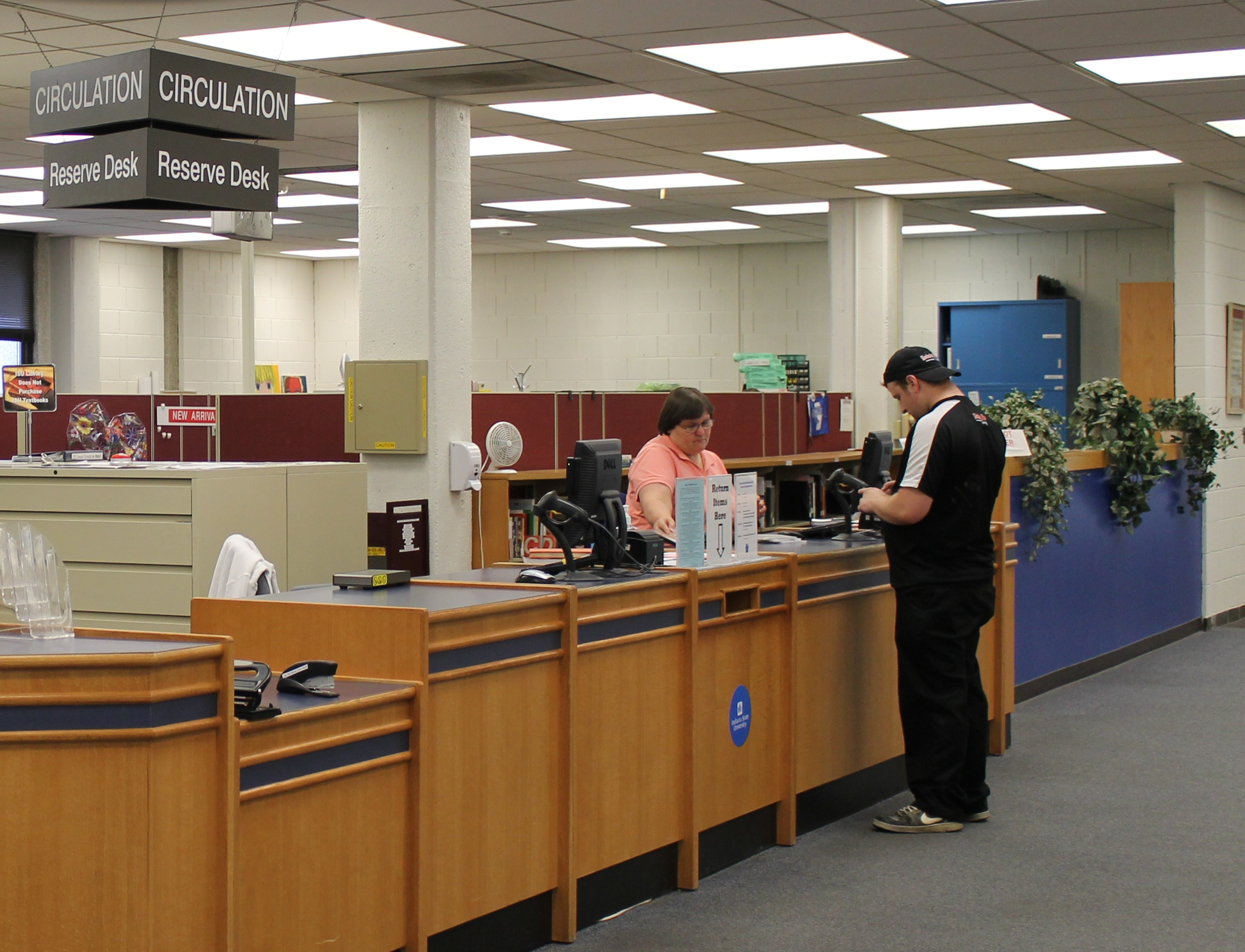 Until mid-May, 2014: Circulation Desk with Blue Wall