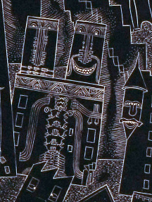 Fred Becker (American, 1913-2004), City of Smiles, 1935. Wood engraving, Courtesy of the Fine Arts Program, Public Buildings Service, U.S. General Services Administration; Commissioned through the New Deal art projects