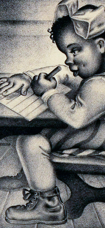 Samuel J. Brown (American, 1907-1994), The Writing Lesson, 1938, Lithograph, Courtesy of the Fine Arts Program, Public Buildings Service, U.S. General Services Administration; Commissioned through the New Deal art projects