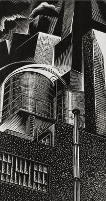 John P. Heins (American, 1896-1969), Rooftops, 1938, Wood engraving, Courtesy of the Fine Arts Program, Public Buildings Service, U.S. General Services Administration; Commissioned through the New Deal art projects