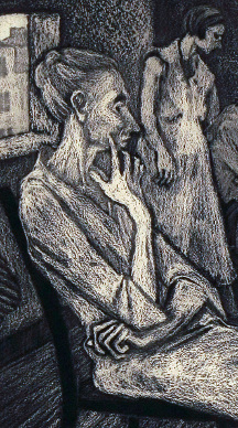 Dorothy Rutka (American, 1907-1985), Poverty, 1937, Aquatint, Courtesy of the Fine Arts Program, Public Buildings Service, U.S. General Services Administration; Commissioned through the New Deal art projects