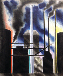 Joseph Stella (American, 1877-1946), Smoke Stacks, 1935 or 36, Oil on canvas, Courtesy of the Fine Arts Program, Public Buildings Service, U.S. General Services Administration; Commissioned through the New Deal art projects