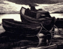 Dox Thrash (American, 1892-1965), Boats at Night, 1940, Aquatint, Courtesy of the Fine Arts Program, Public Buildings Service, U.S. General Services Administration; Commissioned through the New Deal art projects