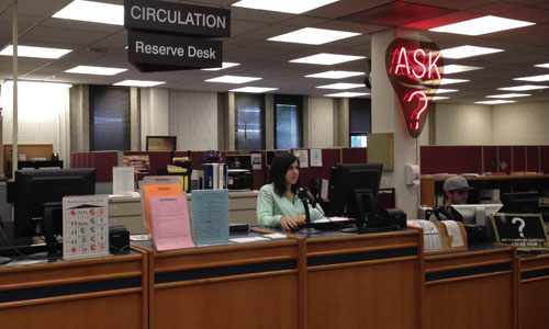 Circ desk at library